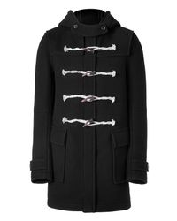 Balmain - Black Duffle Coat with Horn Buttons for Men - Lyst