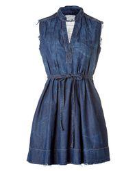 Current/Elliott - Blue Dark Tin Belted Denim Dress - Lyst
