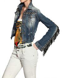 DSquared² - Blue Leather Fringed Studded Denim Jacket - Lyst