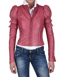DSquared²   Pink Ruffled Nappa Leather Jacket   Lyst