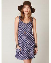 Free People - Blue Plaid Sleeveless Shirt Dress - Lyst