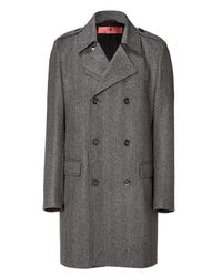 HUGO | Gray Dark Grey Herringbone Coat for Men | Lyst