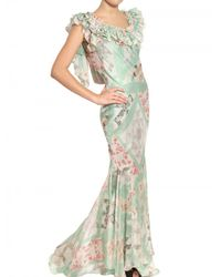 John Galliano   Multicolor Patchwork Print Silk Chiffon Dress   Lyst