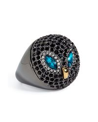 Juicy Couture | Gray Dark Pave Owl Ring | Lyst