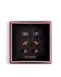 Juicy Couture - Metallic Gold and Silver Elephant Luck Trio Earrings - Lyst