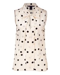 Marc By Marc Jacobs | Multicolor Cream Polka Dot Silk Top | Lyst