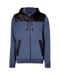 Marc By Marc Jacobs - Blue Zip Hoodie with Leather Trim for Men - Lyst