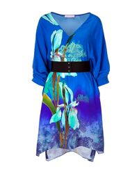 Matthew Williamson | Royal Blue Silk Belted Kimono Dress | Lyst