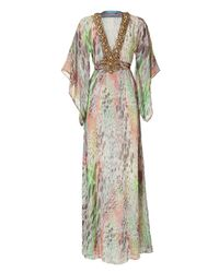 Matthew Williamson Escape | Green Multicolor Printed Caftan with Embellished Neckline | Lyst