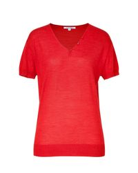 Narciso Rodriguez | Mandarin Red Wool and Silk Blend Top | Lyst