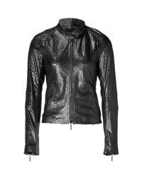 Plein Sud | Black Python Embossed Leather Jacket | Lyst