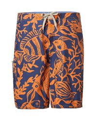 Polo Ralph Lauren | Orange Fish and Coral Blue Lake Trunks for Men | Lyst