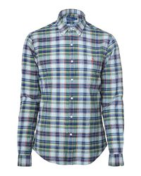 Polo Ralph Lauren | Blue Rolling Rock Indigo/green Madras Slim Fit Shirt for Men | Lyst