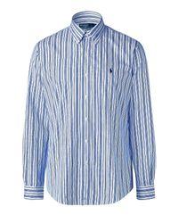 Polo Ralph Lauren | White and Blue Striped Poplin Custom Fit Shirt for Men | Lyst