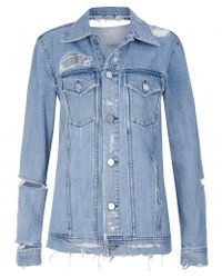 Acne | Blue Fever Trash Distressed Denim Jacket | Lyst