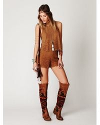 Free People | Brown Suede Laser Cut Top | Lyst