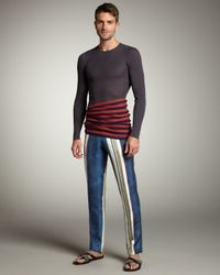 Lanvin | Blue Striped Silk Pants for Men | Lyst