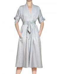 Luisa Beccaria | Blue Stretch Cotton Satin Dress | Lyst