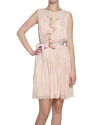 Luisa Beccaria - Pink Embroidered & Pleated Tulle Dress - Lyst
