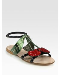 Miu Miu | Black Glitter Cherry Metallic Leather and Patent Leather Sandals | Lyst