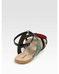 Miu Miu | Black Glitter Cherry Metallic Leather and Patent Leather Sandals | Lyst