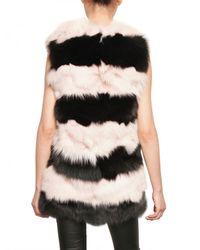 MSGM | Black Striped Fox Vest Fur Coat | Lyst