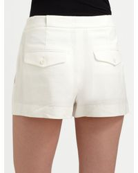 Theory | Natural White Linen Shorts | Lyst