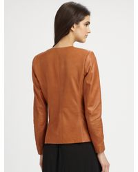 Theory   Brown Frima Leather Blazer   Lyst