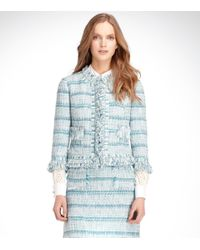Tory Burch - Blue Marion Ribbon Tweed Jacket - Lyst