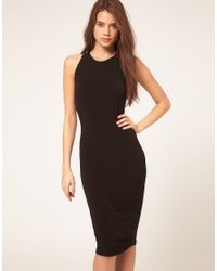 ASOS Collection | Black Midi Dress with Embellished Knot Back | Lyst
