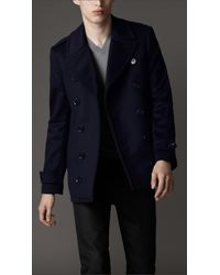 Burberry | Blue Wool and Cashmere Pea Coat for Men | Lyst
