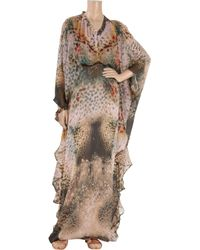 Halston | Multicolor Printed Silk-chiffon Maxi Kaftan | Lyst