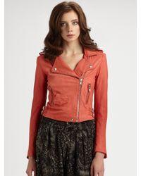 IRO | Orange Ashville Leather Jacket | Lyst