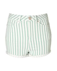 TOPSHOP | Green Striped Hotpants | Lyst