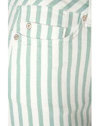 TOPSHOP - Green Striped Hotpants - Lyst