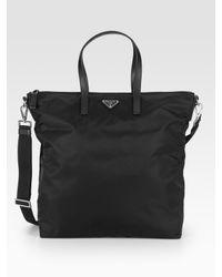 Prada | Black Nylon & Leather Tote Bag for Men | Lyst