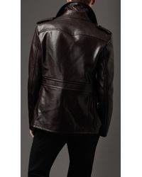 Burberry - Black Dark Leather Pea Coat for Men - Lyst