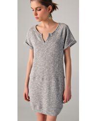 C&C California | Gray Short Sleeve Terry Sweatshirt Dress | Lyst