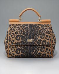 Dolce & Gabbana | Multicolor Miss Sicily Leopard-print Straw Handbag | Lyst