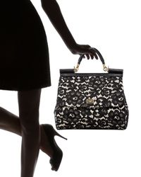 Dolce & Gabbana - Black Miss Sicily Lace Handbag - Lyst