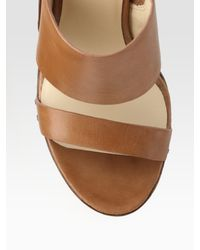 Kors by Michael Kors - Brown Eliza Leather Espadrille Wedge Sandals - Lyst