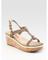 Prada | Natural Suede T-strap Wedge Sandals | Lyst