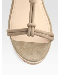 Prada - Natural Suede T-strap Wedge Sandals - Lyst