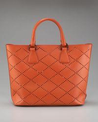 Prada | Orange Saffiano Fori Perforated Tote | Lyst