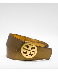 Tory Burch - Metallic Reversible Logo Belt - Lyst