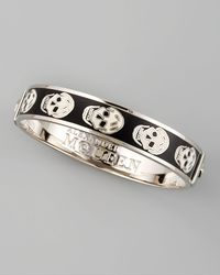 Alexander McQueen - Black Small Enamel Skull Bangle - Lyst