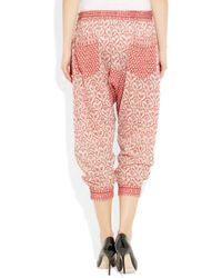 Étoile Isabel Marant - Pink Hair Printed Cotton-Voile Harem Pants - Lyst