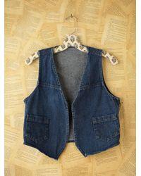 Free People | Blue Micro Woven Denim Vest | Lyst