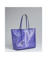 Furla | Purple Acai Croc Embossed Leather Everyone Shopper Tote | Lyst
