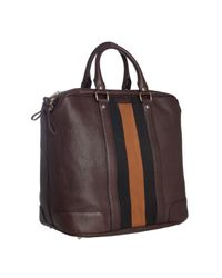 Gucci - Brown Chocolate Leather Logo Stripe Weekender Tote for Men - Lyst